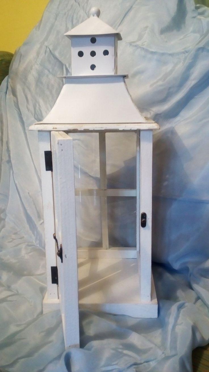 Lanterna Shabby Chic bianca in legno e vetro cm 56, €49.80