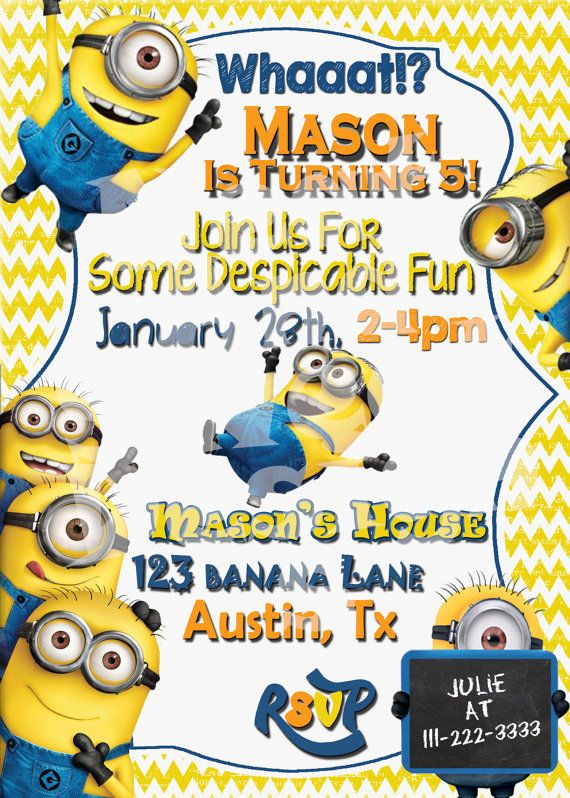 5 X 7 Printable Despicable Me Minion Birthday Invitation - Minion Birthday Invite - Despicable Me Birthday Invitation - Minion Party Invite #despicableme2 #despicablemeparty #minionparty