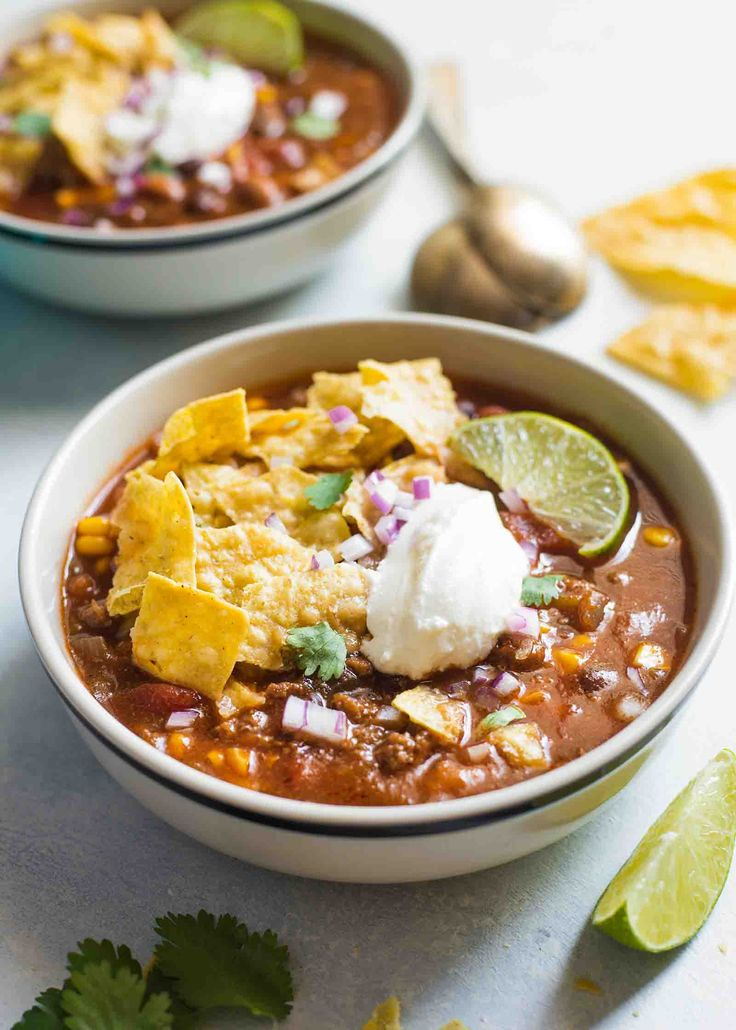 This slow cooker taco soup with ground beef is so good! Perfect for busy weeks. Flexible cooking times.This slow cooker taco soup with ground beef is so easy - and SO GOOD! Perfect for busy weeks. Flexible cooking times.