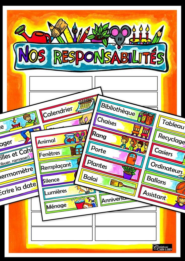 Voici mon tableau des responsabilités ! Un tableau que vous pouvez personnaliser en choisissant parmis 29 responsabilités. Coller les responsabilités dont vous aurez besoin sur la tableau qui est inclus dans ce document et vous aurez votre tableau de responsabilités personnalisé. 5 étiquettes vierges pour les responsabilités plus particulières à votre classe. Écrivez le nom des vos élèves sur des épingles à linge et épingler les noms à côté de la responsabilité de l'élève.