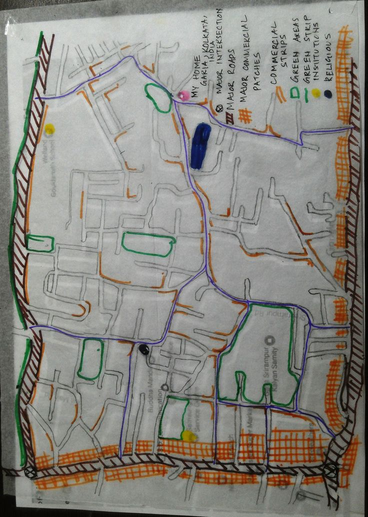 I am Deepashree Choudhury, an urban designer, based in Kolkata, India.This is a traced map of the neighbourhood I live, with my home marked at the top in the centre of the page.This is my submission for Assignment 1.