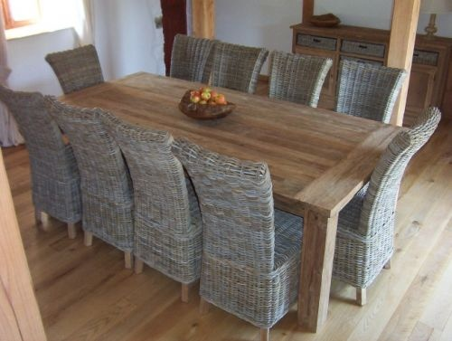 Large Reclaimed Teak Table Taplock 240 And Chair Set With 10 Natural Wicker C