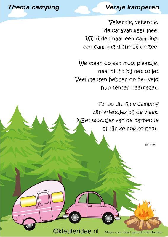 Versje kamperen voor kleuters , thema camping, juf Petra van kleuteridee.