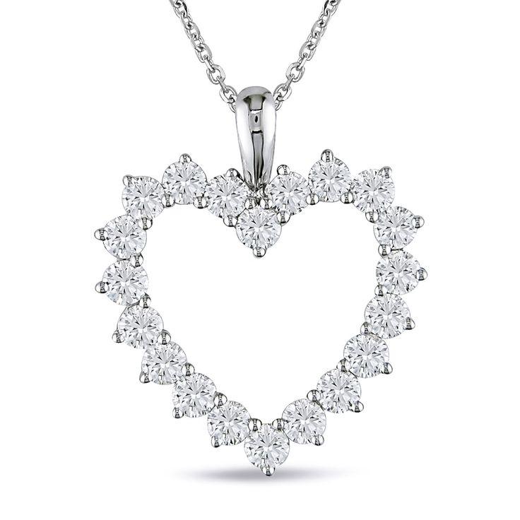 Miadora Signature Collection 14k Gold 2ct TDW Diamond Heart Necklace