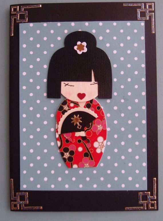 Greeting Card Handcrafted  Japanese Kimono Doll  by PaperHydrangea