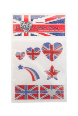 Union Jack Glitter Temporary Tattoos