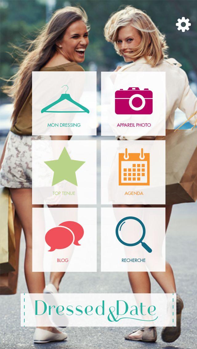 Application Dressed & Date // Screenshot Page d'accueil // Disponible gratuitement sur APP STORE : itunes.apple.com/... et sur PLAY STORE : https://play.google.com/store/apps/details?id=air.fr.groupe1234.dressed #Application #Mode