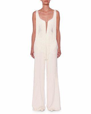 197a82436634 Stella McCartney Designer Fringe-Front Sleeveless Wide-Leg Jumpsuit ...