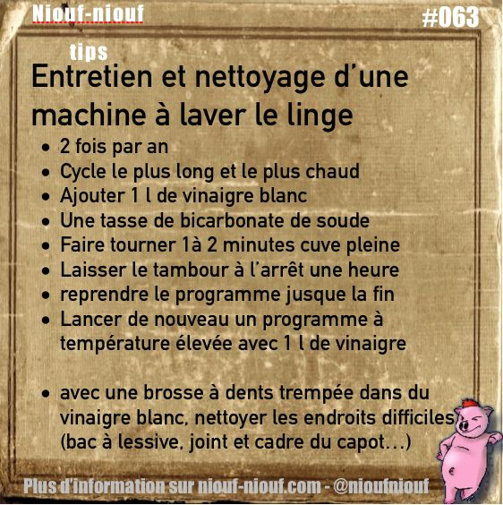 Tips Niouf-niouf : Entretien et nettoyage d'une machine à laver le linge #linge…