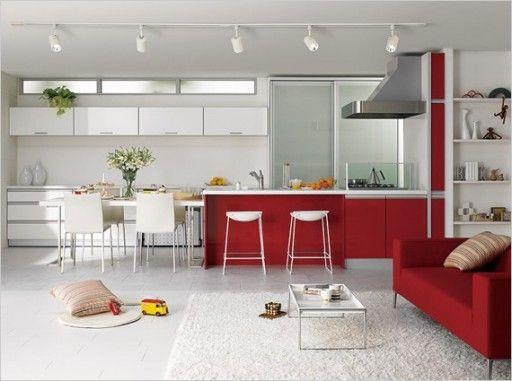 Красно-белая кухня известна своими декоративными возможностями