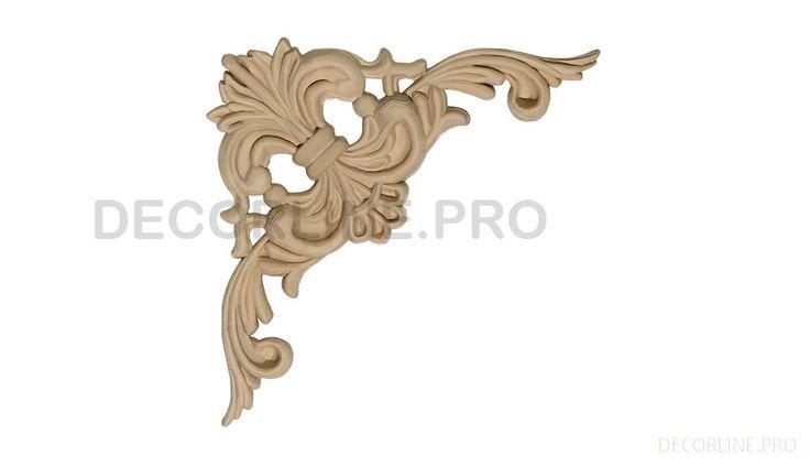 УГЛОВЫЕ ЭЛЕМЕНТЫ из древесной пасты OV-37M Размер/Size: 82x82x7. Резной декор из древесной пасты, древесной пульпы, полимера, полиуретана, ППУ, МДФ, прессованный декор, декор из массива, декор из дерева