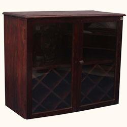 Rustic Solid Wood Glass Door Wine Rack Bar Cabinet