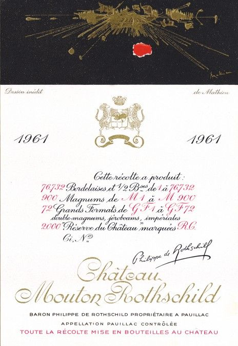 Etiquette Mouton Rothschild 1961  Georges MATHIEU