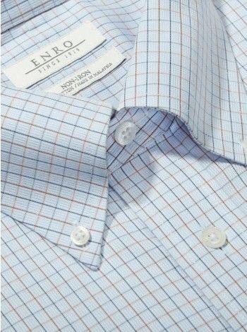 Big&Tall-Light Blue Multi Check Dress Shirt With Button Down Collar