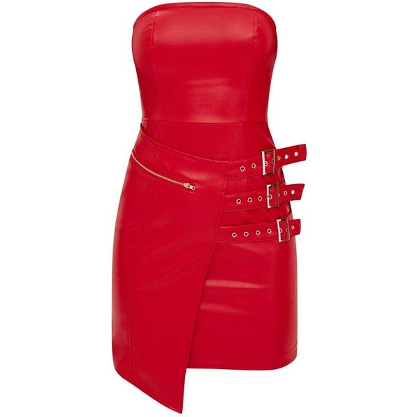 Red Faux Leather Buckle Detail Bandeau Bodycon Dress ($45) ❤ liked on Polyvore featuring dresses, bandeau dress, red bandeau dress, body con dresses, faux-leather dress and body conscious dress