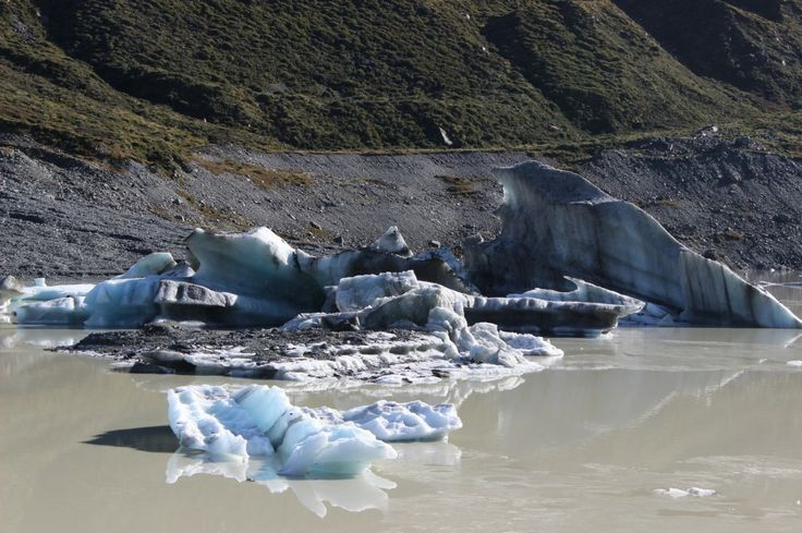 At the base of Mount Cook is the Hooker Glacier and Lake. It's melting fast and if you are lucky you will see icebergs floating in the lake like these. Highly Recommended!