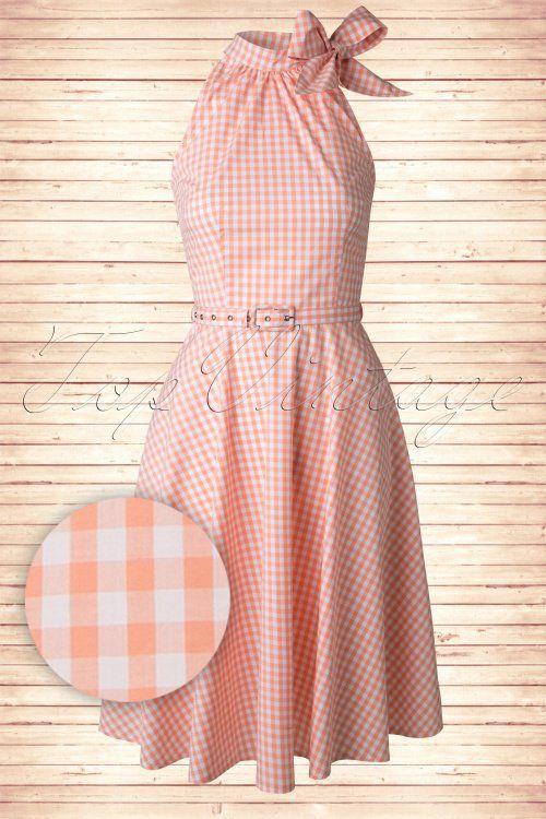 Retro style 1950s Gingham Peach Swing Dress