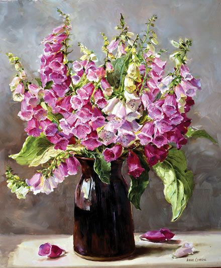 """""""Foxgloves"""" - from the flower painting by Anne Cotterill. Giclée print on canvas, stretched on a wooden frame. Size 36cm x 46cm (14"""" x 18""""). From an original oil painting. Limited edition of 50. Supplied with certificate of authenticity signed on behalf of the Estate of Anne Cotterill. The painting depicts a large bunch of wild pink Foxgloves (Digitalis) in a brown vase."""