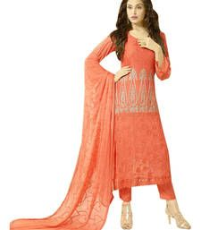 Buy Orange embroidered chiffon unstitched salwar with dupatta party-wear-salwar-kameez online