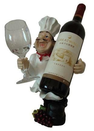 Fat Italian/French Kitchen Decor : Italian Fat Chef Wine Holder with One Glass Holder