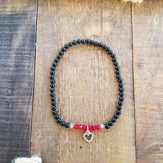 Check out this item in my Etsy shop https://www.etsy.com/listing/512097740/heart-anklet-onyx-jewelry-swarovski