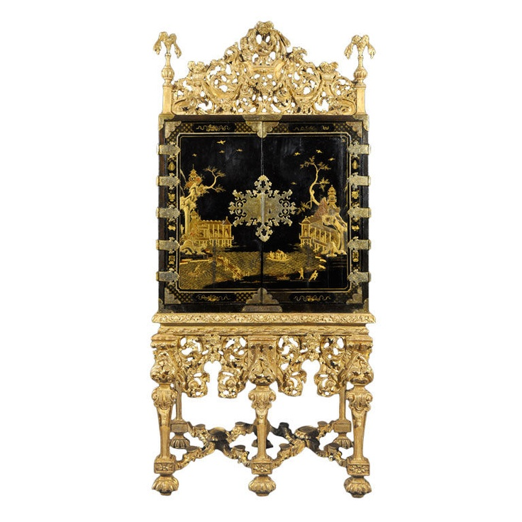Rare Charles Ii Black Gilt Anned Cabinet With Original Guilding Britain