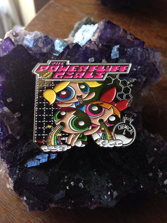 PowerFluff Girls  LSD molecule by PiFpins on Etsy, $14.95