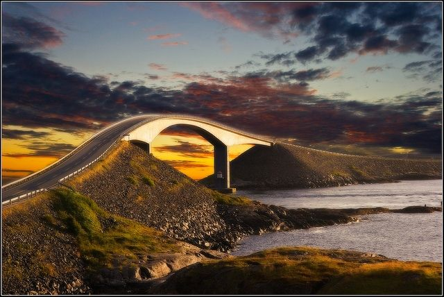 The Atlantic Road – Norway. This is a 5 mile stretch of road connecting the towns of Kristiansund and Molde. This road has been awarded the status of national tourist route due to its panoramic views and its architecture. On this road you could experience anything from birds to whales. Even without that, the views of the Atlantic Ocean are breathtaking.