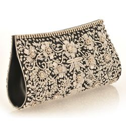 Fabric and Silver Embroidery with Crystals on Black Clutch (India) #odotco #overstock #worldstock