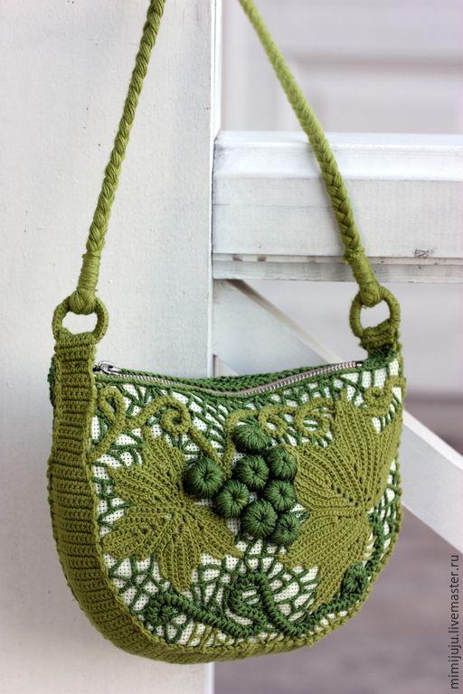 """Купить Сумочка """"Зеленый виноград"""" - зеленый, ирландское кружево, ирландское вязание, ирландские кружева, виноград"""