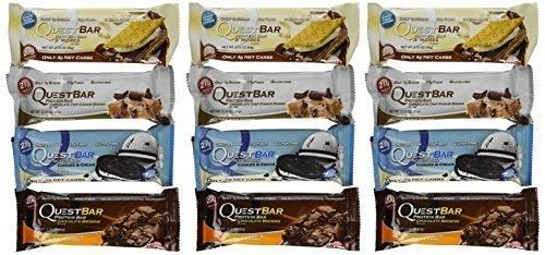 Quest Nutrition Protein Bar Chocolate Variety Pack: Chocolate Chip Cookie Dough S'mores Cookies & Cream and Chocolate Brownie - Pack of 12 (3 of Each)