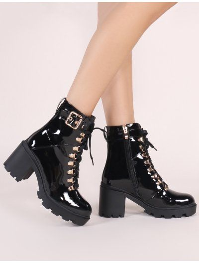 7df40bd691e Swag Lace Up Ankle Boots in Black Patent in 2019