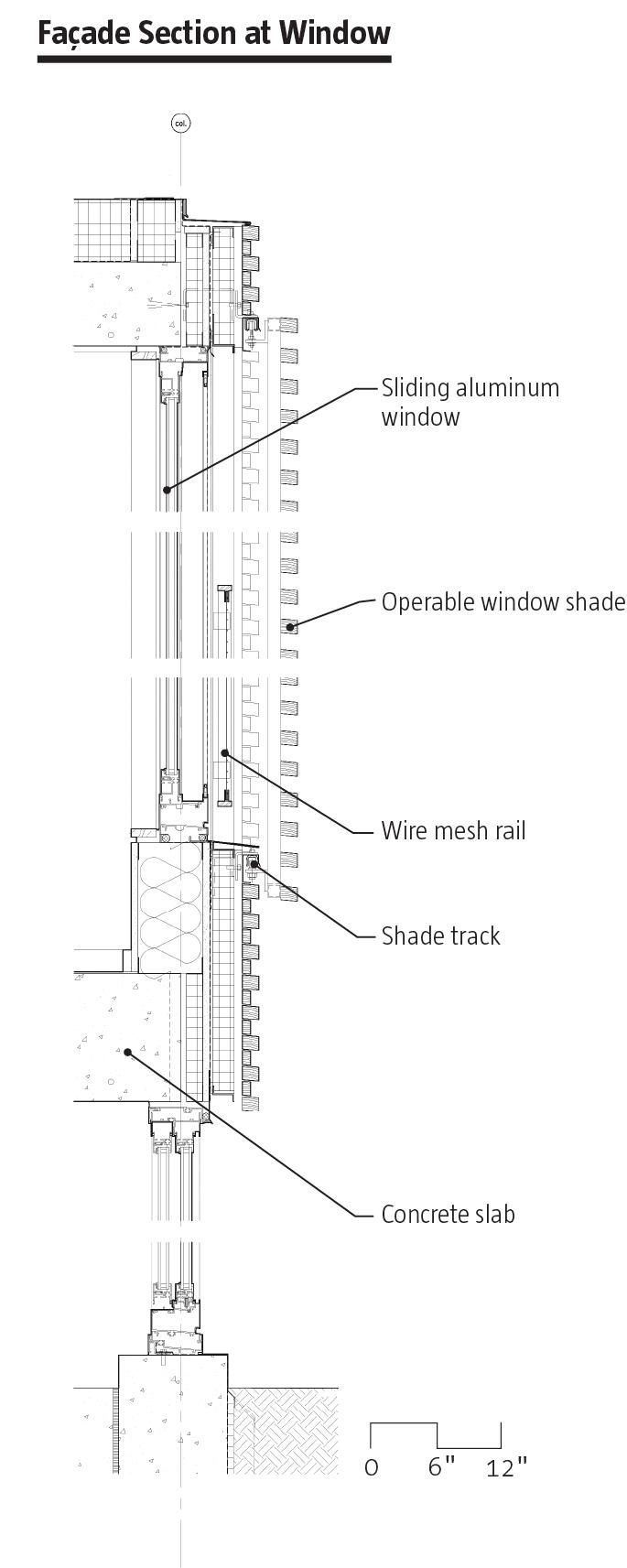 Facade Section at Window  Housing Tower at Kripalu Center | Stockbridge, Mass. | Peter Rose + Partners
