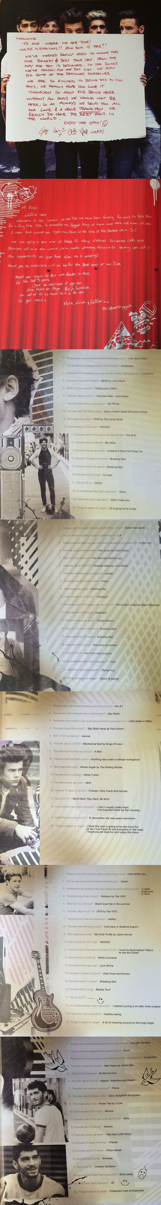 One Direction Where We Are Tour booklet (pt. 2)