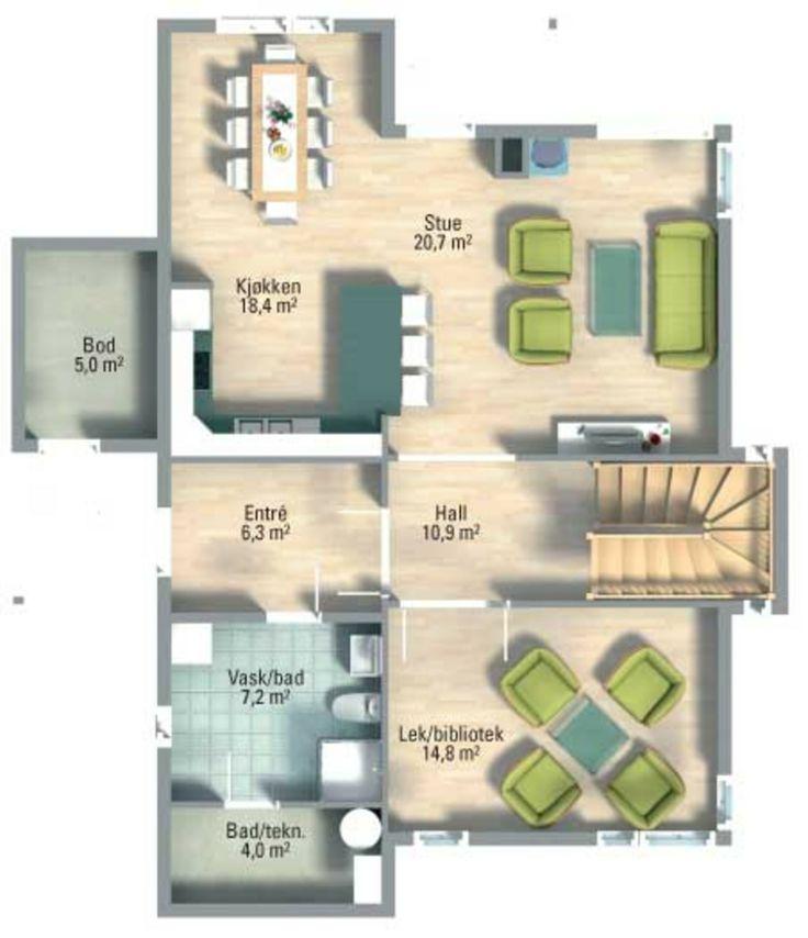 """""""Perspektiv"""" fra Systemhus. Et moderne hus med høy og åpen himling."""