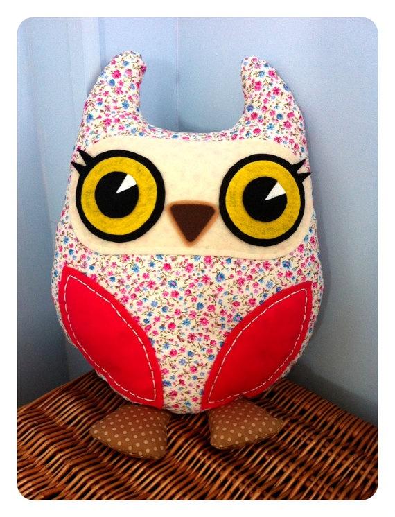 Decorative Owl Cushion Pink by PrincessAllipops on Etsy, £19.95