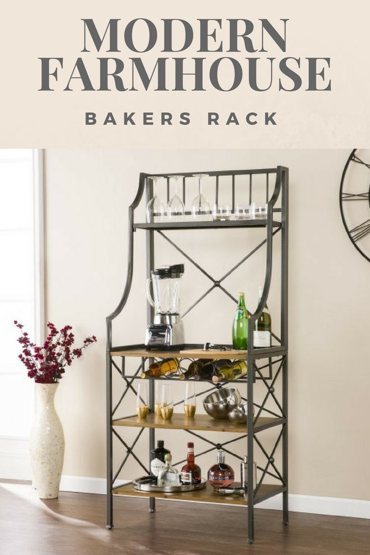 Modern Farmhouse Bakers Rack Small Space Friendly Microwave Stand
