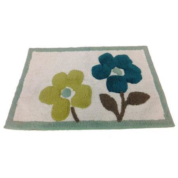 Saturday Knight Dragonfly Flowers Teal Green Bath Mat Rug #SaturdayKnight
