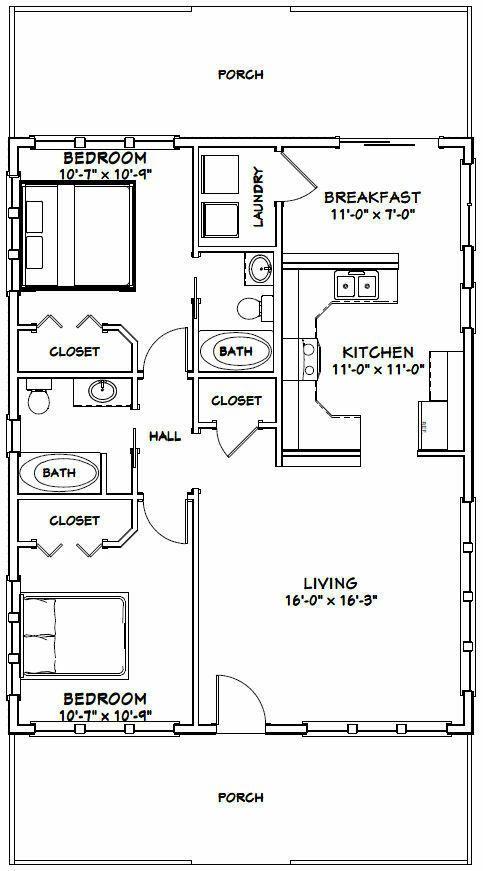 28x36 House 2 Bedroom 2 Bath 1 008 Sq Ft Pdf Floor Plan Model 1m 29 99 Piccl Small House Floor Plans Tiny House Floor Plans Duplex Floor Plans