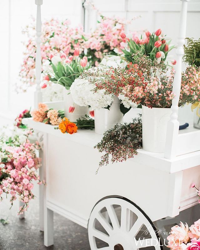 cart full of flowers