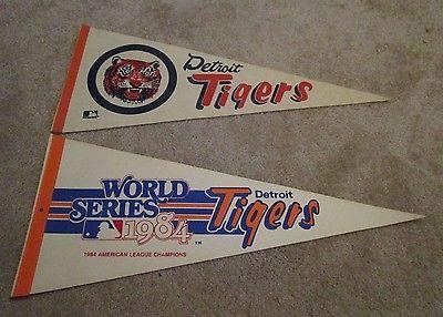 Lot of 2 Vintage Detriot Tigers 1984 World Series Big Logo Team Felt Pennants