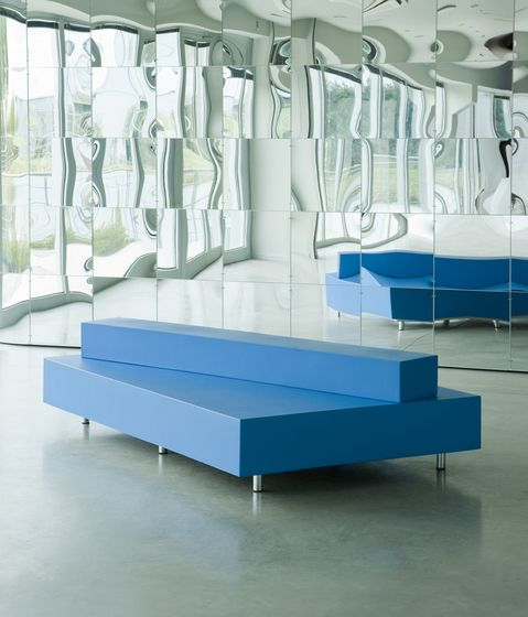 Edra Blue Bench design by Maarten Van Severen Cool for a shoe store! Imagine sitting down on that to try shoes!
