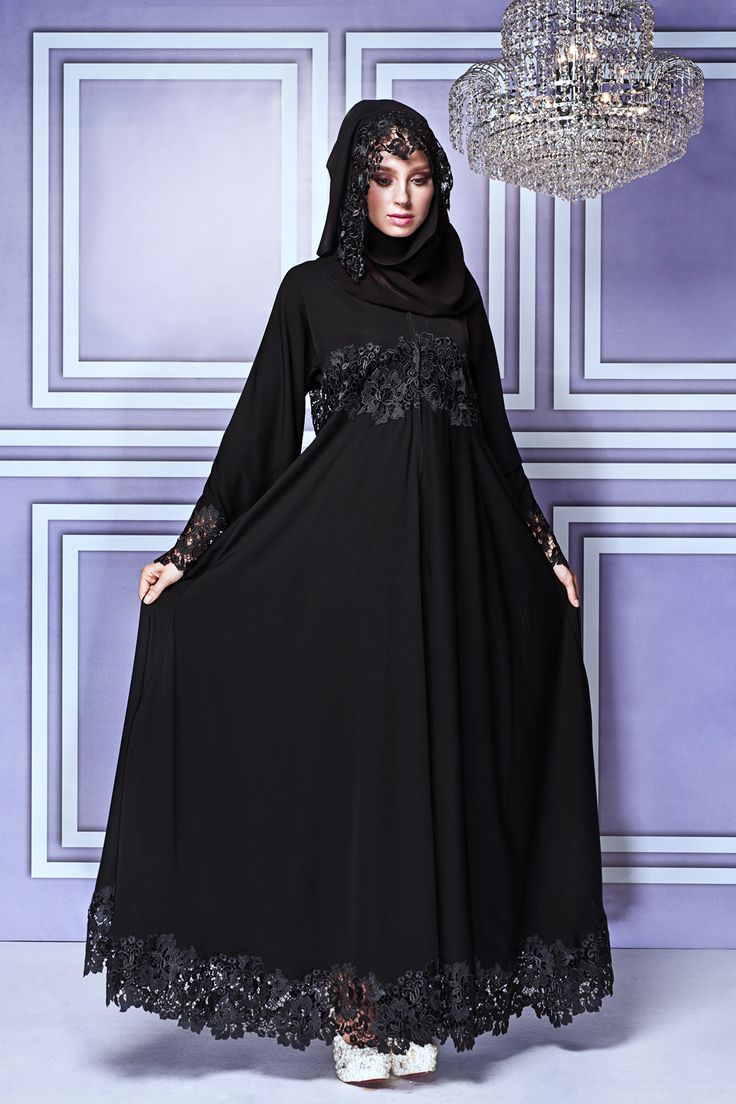 Abayas get a glittering makeover with new Malaysian high-end label: This empire cut abaya with bold border lace could work for practically any occasion