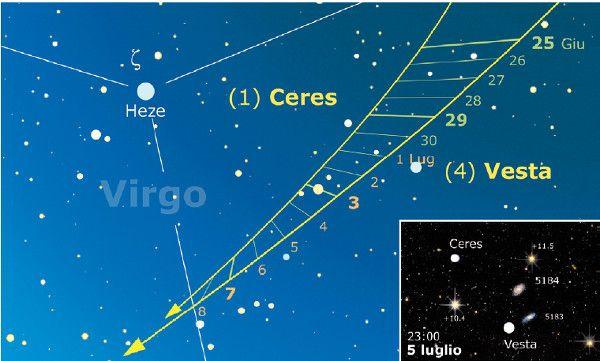 """Cerere e Vesta: questo mese, finalmente, i due asteroidi si metteranno a correre su traiettorie decisamente convergenti e il divario scenderà di molto, fino ai 23 primi di fine mese, prima della stretta finale del 5 luglio.  Un'ottima occasione per rilanciare la sfida di Talib: """"nella storia dell'astronomia amatoriale non è mai stata fatta la ripresa completa della traccia luminosa lasciata da un asteroide durante l'intervallo di un mese"""""""