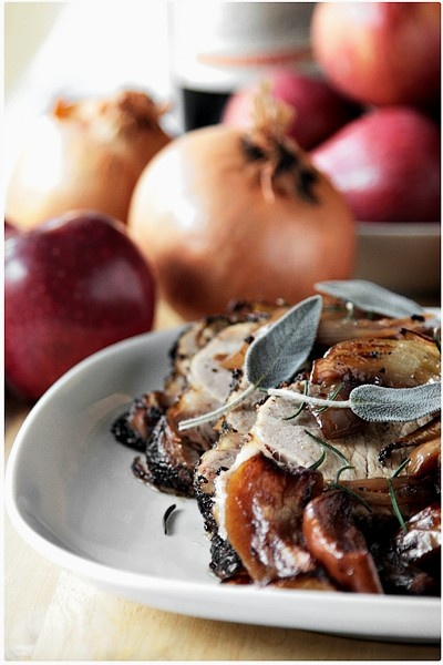 Lonza di maiale al forno con cipolla bianca & mele renette