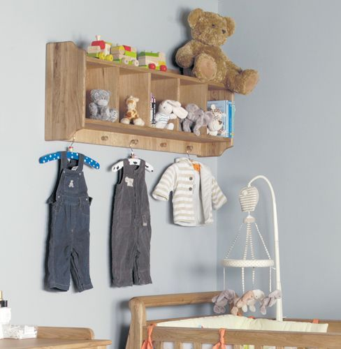 Amelie Oak Wall Shelf with Hanging Pegs #home #furniture #oak #wood #interior #decor #design #bedroom #shelf #wall #storage #clothing #coathanger