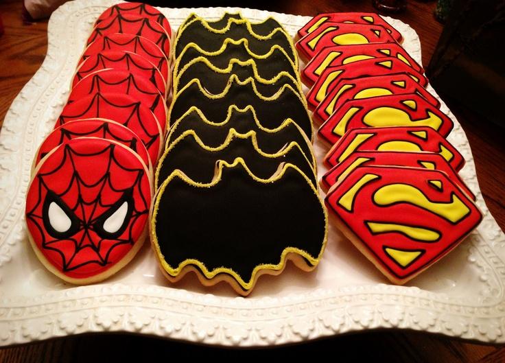 12 Super hero Cookies Batman SpiderMan Superman by chast8888. , via Etsy.