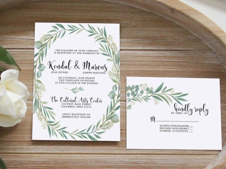 Eucalyptus leaves wedding invitation. Perfect simple greenery wedding invitation with elegant touches. Whimsical wedding or bohemian wedding suite. Neutral wedding invitations by Unica Forma