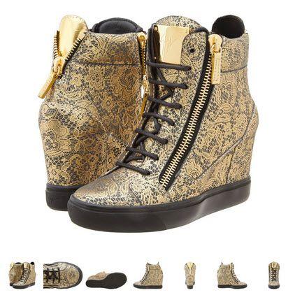 Sneakers cu platforma Giuseppe Zanotti RW4083 auriu cu negru