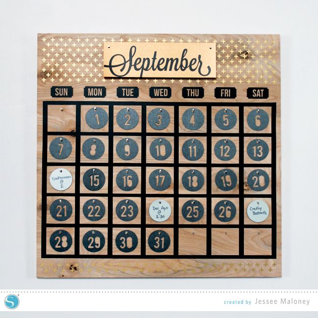 Large Wooden Perpetual Calendar by Jessee M for Silhouette America